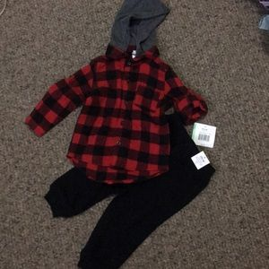 NWT little me hooded flannel and sweats 12-18m